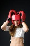 bokserska rękawiczek grl czerwień zdjęcia stock
