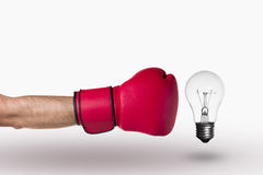 Bokserska rękawiczka i lampa obraz stock