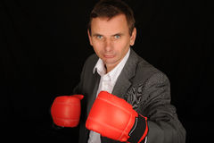 bokserski biznesmen Zdjęcia Stock