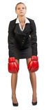 bokserski bizneswomanu rękawiczek target2096_0_ Fotografia Stock