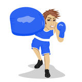 Bokserski bokser Młody człowiek z bokserskimi rękawiczkami uderza patrzeć gniewny i uderza pięścią Obrazy Royalty Free