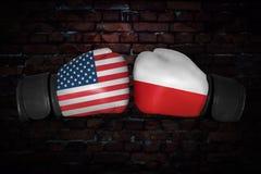 Bokserski dopasowanie między Rosja i usa fotografia stock