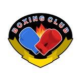 Bokserski emblemat Gred i błękit miłość logo dla sport drużyny i clu royalty ilustracja