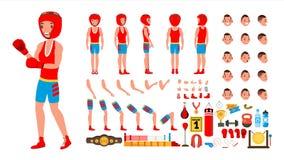 Bokserski gracza wektor animowany charakteru tworzenia set Walcząca sportowiec samiec Pełna długość, przód, strona, Tylny widok ilustracji