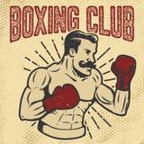 Bokserski klub Rocznika stylowy bokser na grunge tle Projekt el ilustracji