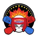 Bokserski logo Bawi się emblemat Czaszka i bokserskie rękawiczki ochronny royalty ilustracja
