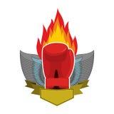 Bokserski logo Rękawiczki i skrzydła Emblemat dla sport walki i drużyny royalty ilustracja