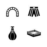 Bokserski Pierścionek Proste Powiązane Wektorowe ikony ilustracja wektor