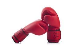 Bokserski pojęcie z ochronnymi czerwonymi rękawiczkami Obraz Stock