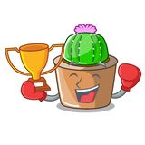 Bokserski zwycięzca maskotki gwiazdy kaktus dekoruje w ogródzie ilustracja wektor