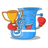 Bokserski zwycięzca miniatury tuba w kształt kreskówce ilustracji