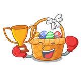 Bokserski zwycięzcy Easter kosz nad drewniany kreskówka stół ilustracji