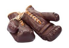 bokserskich rękawiczek odosobniony rocznika biel zdjęcie royalty free