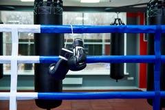 Bokserskie rękawiczki na bokserskim pierścionku zdjęcia stock