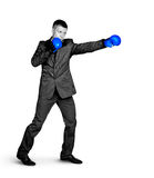 bokserskiego biznesmena poważna sportów postawa zdjęcia royalty free