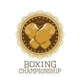 Bokserskiego mistrzostwa wektorowy logo, emblemat, etykietka, projekt Zdjęcie Stock