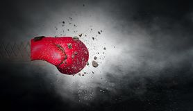 Bokserskiej rękawiczki niespodzianka Mieszani środki obraz stock