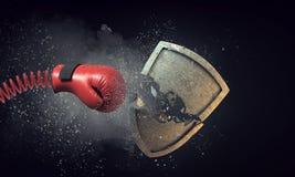 Bokserskiej rękawiczki niespodzianka Mieszani środki zdjęcie stock