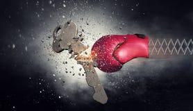 Bokserskiej rękawiczki niespodzianka Mieszani środki fotografia stock