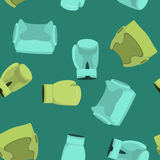 Bokshandschoenen en In dozen doend helm Naadloos Patroon, sportbackgro Stock Afbeeldingen