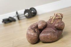 Bokshandschoenen en gewichten Stock Afbeelding