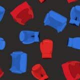 Bokshandschoenen en helm Het naadloze patroon van sporten Royalty-vrije Stock Fotografie