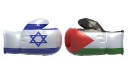Bokshandschoenen met de vlag van Israël en van Palestina Stock Foto's