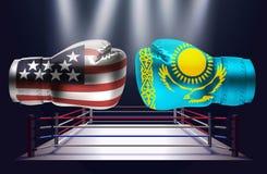 Bokshandschoenen met drukken van de vlaggen van de V.S. en van Kazachstan het onder ogen zien vector illustratie