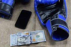 Boksować dla pieniądze dolary i bokserskie rękawiczki obrazy stock