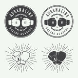 Boksować i sztuk samoobrony loga etykietki w roczniku i odznaki projektują Obraz Stock