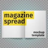 Bokspridning med tomma vita sidor Tom tidskriftspridning för vektor Pappers- isolerad vit Öppen broschyr A4 Royaltyfria Bilder