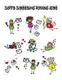 Bokstäver av inställda förälskelsesymboler Arkivfoto