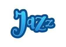 Bokstäver av jazz i blå lutning med översikten på vit bakgrund stock illustrationer