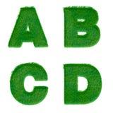 Bokstäver A, B, C, D som göras av isolerat grönt gräs på vit Arkivfoto