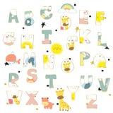 Bokstäver för alfabet för färgpulver för gul guld för rosa färger blåa färgrika tecknad hand Royaltyfria Bilder