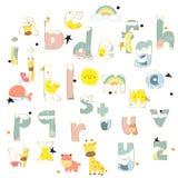 Bokstäver för alfabet för färgpulver för gul guld för rosa färger blåa färgrika tecknad hand Royaltyfri Fotografi