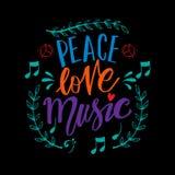 Bokstäver för hand för fredförälskelsemusik vektor illustrationer