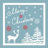 Bokstäver för hand för glad jul Calligraphic kortdaghälsningen irises vektorn för moder s Vita flingor för snö för hjortgranträd  Arkivbild