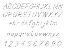 Bokstäver för latinskt alfabet, kursiv stilsortsuppsättning, med uppsättningen av nummer 1, 2, 3, 4, 5, 6, 7, 8, 9, 0, skisserat, vektor illustrationer
