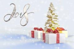 Bokstäver för nytt år för 2018 jul guld- med färgrika gåvaaskar med pilbågar av band och det guld- julträdet på viten tillbaka Fotografering för Bildbyråer