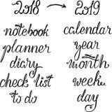 Bokstäver 2019 för nytt år för kalender, stadsplanerare eller organisatör - titel, ord för rubrik eller räkning, årsnummer som en royaltyfri illustrationer
