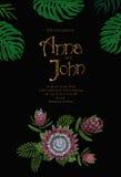 Bokstäver för tappning för kort för mall för datum för bröllopinbjudanräddning hand dragen Tropiska exotiska Monstera sidor Guld- royaltyfri illustrationer
