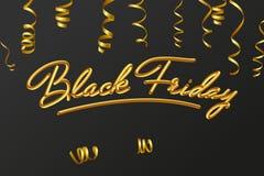 Bokstäver för text för kort för Black Friday Sale bokstäverkalligrafi guld- Guld- krullande ström också vektor för coreldrawillus Arkivbilder
