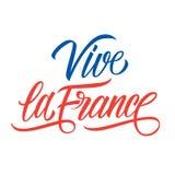 Bokstäver för Vive laFrankrike hand för feriehälsningar och inbjudningar med den franska nationella dagen, Juli 14, Bastilledag royaltyfri illustrationer