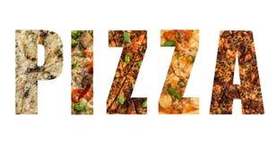 Bokstäver från pizza Arkivfoto