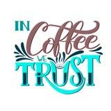 Bokstäver i kaffe litar på vi den Calligraphic handen drog tecknet Kaffecitationstecken Royaltyfri Fotografi