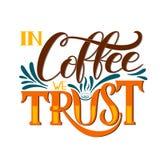 Bokstäver i kaffe litar på vi den Calligraphic handen drog tecknet Kaffecitationstecken Royaltyfria Foton