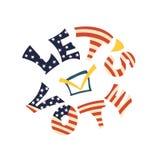 Bokstäver i nationella färger av USA flaggan Kalla för att rösta stock illustrationer