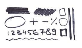 Bokstäver numrerar pilar som är skriftliga i svart markör stock illustrationer
