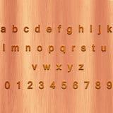 Bokstäver och 0-9 för engelskt alfabet Arkivfoto